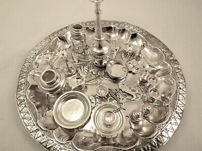 Vintage Solid  Indian Silver Miniature Hindu Puja Thali Set 20 Piece Boxed
