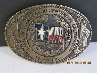 Very Rare Texas Sesquicentennial Belt Buckle Solid Brass Hand Carved Low Numbers