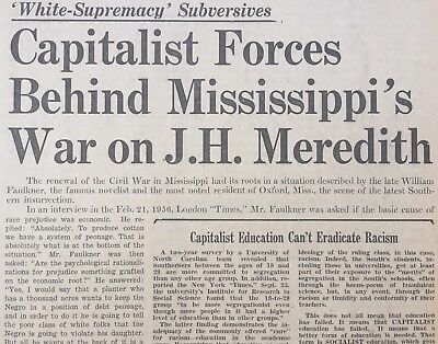 2 1962 newspapers JAMES MEREDITH 1ST NEGR0 @ University Mississippi SEGREGATION