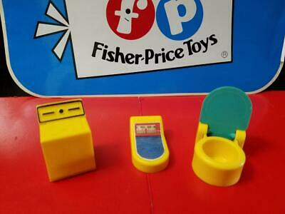 Vintage Fisher Price Little People Yellow Washer Toilet Scale Utility Room Lot