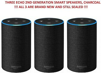 THREE NEW Amazon Echo (2nd Generation) - Smart speaker with Alexa, Charcoal