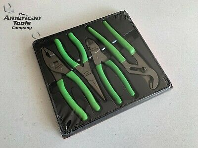 *NEW* Snap On 4-pc Green Pliers/Cutter Set PL400BG