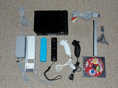 Black Nintendo Wii Console System RVL-001 & Extra Controllers Tested & Working