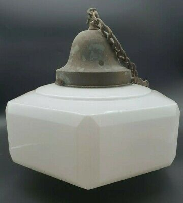 Antique Art Deco Opaline Glass Hexagonal Ceiling Light + Gallery & Chain #4