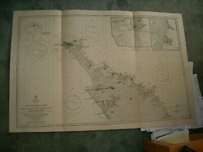 Antique Admiralty Chart 2525 NEW ZEALAND - THE NORTHERN COAST 1857 edn