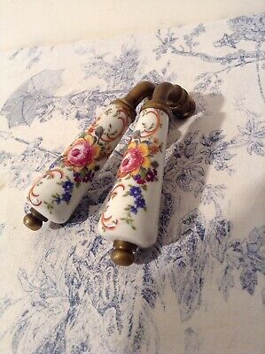 Pair of Vintage French Limoges Porcelain Door Handles