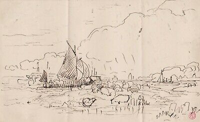 Edward Duncan 1803-1882 Ink Drawing Caught By The Tide Ships And Sheep On Shore