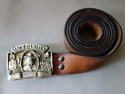 """Vtg Jack Daniels Old Time Tennessee Whiskey Hand Made Leather Belt Buckle 51.2"""""""