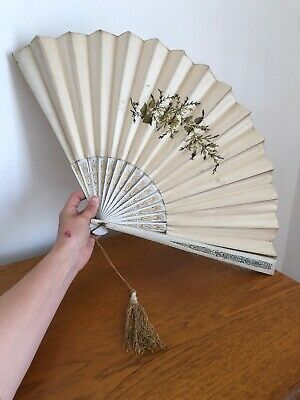 Victorian Large Antique Hand Fan Gold Silver Thread Embroidery on Satin Wedding