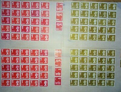 100 X 1st class Red & Gold Large Letter Stamps 1st off paper some gum unfranked.