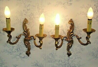 Pair Large French Antique Rococo Bronze Sweeping Leaf Double Wall Sconces 1133