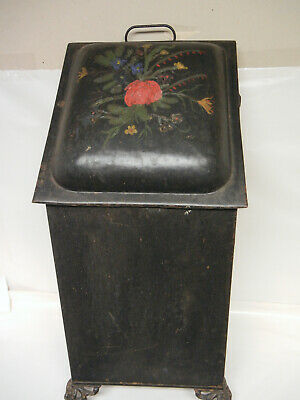 Vintage Metal Footed, Ash, wood or coal Fireplace Bin Pa Dutch floral design