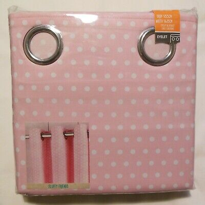 Fluffy Friends Pink Polka Dot Blackout Eyelet Curtain Dunelm Drop 72 Width 66