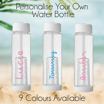 Personalised Water Bottle LOVE clear ANY NAME Island sticker Font gym..