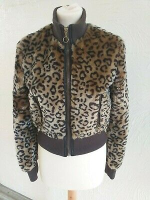 ZARA Girls age 13-14 years leopard print faux fur bomber jacket.  WORN ONCE