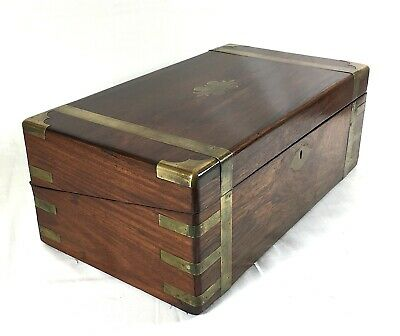 VICTORIAN Large Rosewood Brass Bound Writing Slope C1860 Secret Drawers