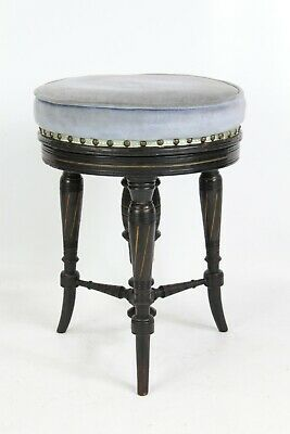 Antique Victorian Aesthetic Movement Rise & Fall Piano Stool - Music Seat Chair