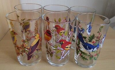 Six Bird Decorated Tumblers Circa 1960's/70's