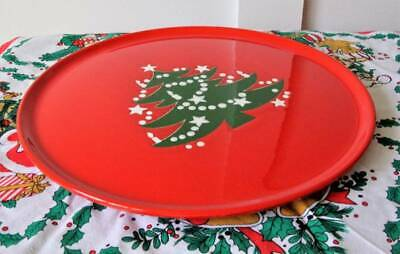 "Red WAECHTERSBACH Germany Pottery Christmas Tree 12"" Cake Cookie Plate RETIRED"