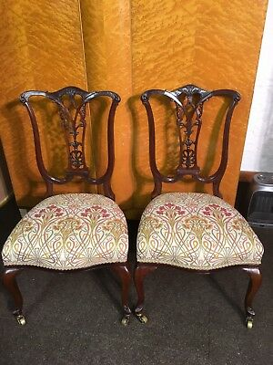 Pair Of Antique Mahogany Chippendale Style Carved Low Chairs Art Nouveau Fabric