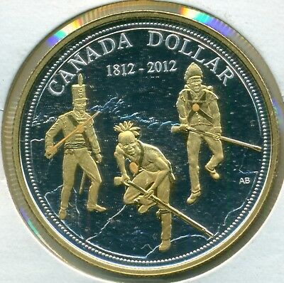 2012 Canada Fine Silver Premium Gold Plated Proof Dollar War of 1812