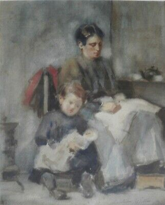 FINE LATE 19th EARLY 20TH CENTURY WATERCOLOUR MOTHER & CHILD SIGNED SCHLETTER