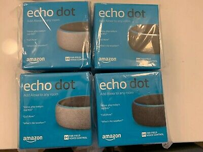 Lot Of 4 NEW Sealed Amazon Echo Dot (3rd Generation) Smart Speakers Black Grey