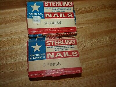 vintage hardware Nails:   Sterling, Made in USA Finish # 3, # 10, nearly full