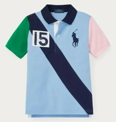 Nwt Polo Ralph Lauren Boys Big Pony Colorblocked Banner Striped Rugby Shirt