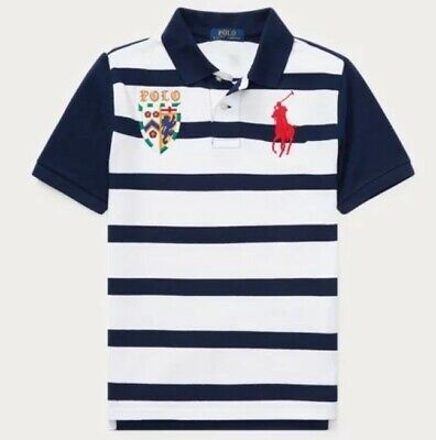 Nwt Polo Ralph Lauren Toddler Boys Big Pony Lion Striped Rugby Shirt Navy