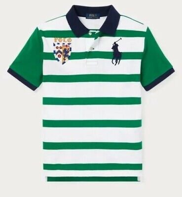 Nwt Polo Ralph Lauren Toddler Boys Big Pony Lion Striped Rugby Shirt Green