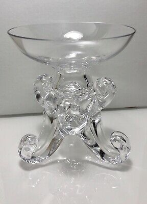 Val St. Lambert Glass Candle Holder Mid Century Crystal Hand Signed