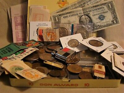 JUNK DRAWER COIN LOT:Silver Coins+Hard Times Token+Indian Head Cents+Rare Stamps