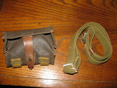 Used Soviet green web sks rifle sling Russian stamp OTK 7.62x39 ammo pouch brown
