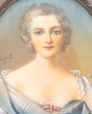 C1880 French Miniature Painting Lady Portrait Dome Glass Frame Signed Eposti