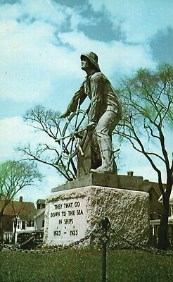 Gloucester, Mass, MA, Statue of the Mariner, Chrome Vintage Postcard f6861