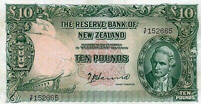 New Zealand 10 Pounds 2/F Prefix Fleming Ef 2/F 152665