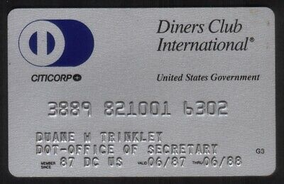 Diners Club International United States Government DOT Credit Card Exp 06/88