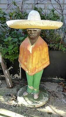 Vintage Mexican Wearing Sombrero Hat Concrete Garden Statue Bird Bath Pot Plant