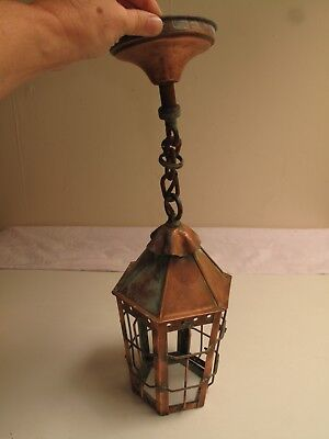 Vtg Arts & Crafts Tudor Copper Porch Light Ceiling Fixture Hand Made No Glass