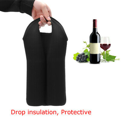 Black Insulated Neoprene Drink/Wine/Champagne Bottle Cooler Tote Bag Carrier