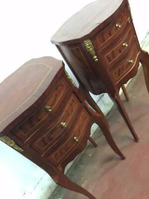 F29059 Vintage and French Style Pair of Bedside Tables Cupboards Gold Inlay