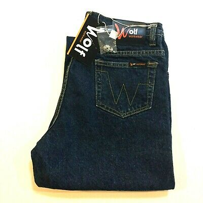 Brand New with Tags Wolf Workwear Mens Blue Jeans Size 97S W38 L29 RRP $59.95