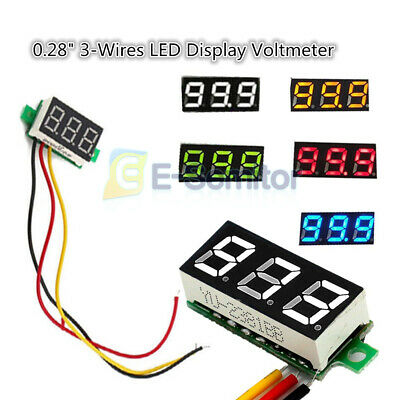 """Red/Green/Blue/Yellow/White LED Display 0.28"""" 3-Wires Voltmeter Volt Panel Meter"""