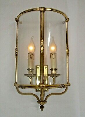 Huge French Antique Brass Double Wall Sconce Half Round Glass Encasement 1220