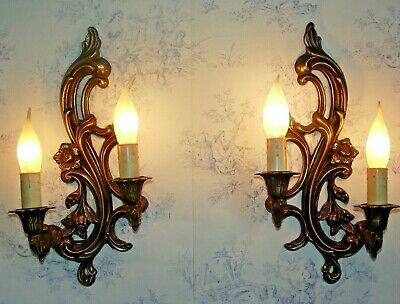 Stunning Pair Antique French Bronze Flower & Leaf Double Wall Sconces 1218