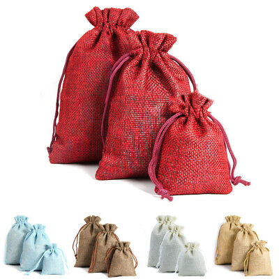 10/50 X Natural Linen Pouch Drawstring Burlap Jute Sack Jewelry Small Gift Bags