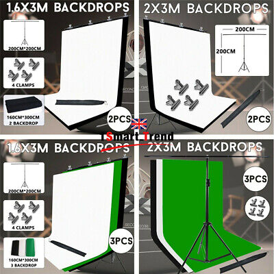 Studio Black White Green Backdrop Video Background T Shape Stand Photography KIT