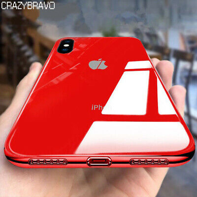 Tempered Glass Phone Case For iPhone Xs Max 7 8 Plus Cover Luxury TPU Hard Cases