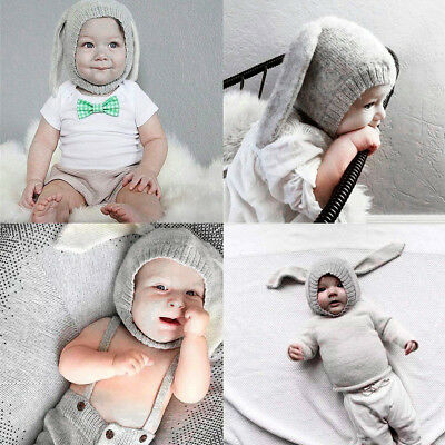 Lovely Winter Warm Baby Kids Boy Girl Knitted Rabbit Crochet Ear Beanie Hats Cap